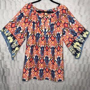 Uncle Frank Boho Ikat Bell Sleeve Pom Pom Dress